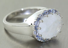 Great Ring White Gold 333 with Moonstone and Tanzanite 10,8gr