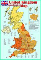 laminated united kingdom (uk) ADMINISTRATIVE MAP poster Wall chart