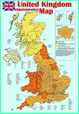 laminated united kingdom (uk) ADMINISTRATIVE MAP poster Wall chart