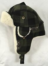 Woolrich Outdoor Aviator Hat Wool Blend Plaid Green Trapper NWT Size Large