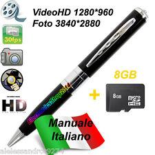 SPY PEN Silver 8gb HD PENNA SPIA MICROSPIA VIDEOCAMERA SPYCAM + MICRO SD 8 GB