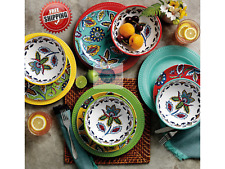 12-piece Melamine Plastics Dinnerware Set Service for 4 Dishwasher Safe