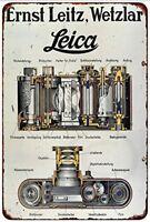 """Leica 35mm Film Camera Leitz Ernst Wetzlar Rustic Retro Metal Sign 8"""" x 12"""""""