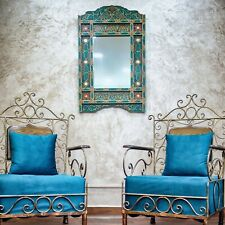 Moroccan farmhouse Green hanging mirror frame, decor of wood, hand-painted wall