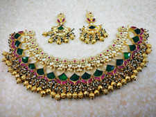 Bollywood Pachi Kundan Necklace Set Jewelry Bridal Polki Real Indian Gold Pearl