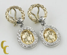 14k Yellow White Gold Diamond Basket Weave Drop Earrings Great Gift for Her