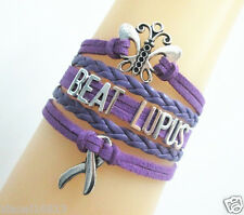 Nice Butterfly BEAT LUPUS Cancer Ribbon Charms Suede Leather Braided Bracelet
