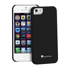 Snap On Rugged Rubber Hybrid Case Cover Shell For Apple iPhone SE 5S 5 Black