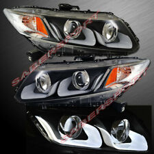 Set of Pair Black U-Bar Projector Headlights for 2012-2015 Honda Civic 4dr Sedan