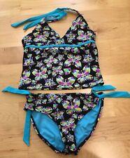 Breaking waves girls swimsuit two piece swimwear size 14