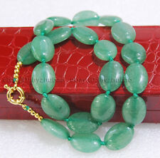 """Long 18"""" 22"""" 25"""" 36"""" 13X18mm Natural Green Aventurine Gems Oval Beads Necklace"""