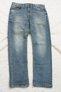 Levis Denizen Blue Denim Jeans 34 Waist 32 Inseam Solid Cotton Slim Straight J61