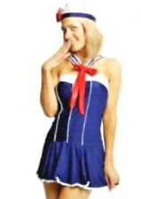 Womens Blue Sailor Girl Fancy Dress Costume Ladies Hen Party Outfit  XL 12-14