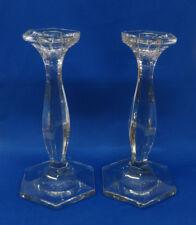 """Vintage Crystal 2 Candlesticks 9"""" Ground Polished Pontil"""