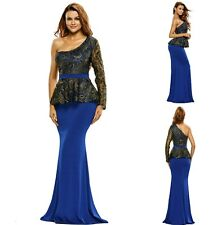Sz 10 12 One Shoulder Peplum Blue Lace Floral Formal Cocktail  Evening MaxiDress