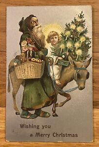 1908 Merry Christmas Santa Claus Postcard Full Green Robe, Presents, Tree