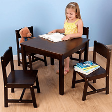 NEW KidKraft Farmhouse Table and 4 Chairs Espress Solid Wood Children Kids 21453