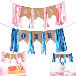 First One 1st Birthday Banner High Chair Baby Shower Boys Girls Party Photo Prop