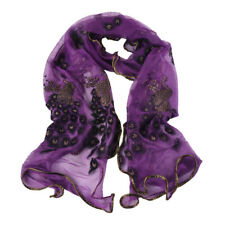 Fashion Women Scarf Long Peacock Floral Neck Wrap Sheer Shawl Stole Lady Scarves