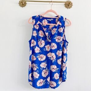 Daniel Rainn Size Medium Stitch Fix Floral Sleeveless Blouse Blue Pink