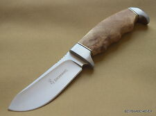 BROWNING BURL WOOD HANDLE FIXED BLADE SKINNING HUNTING KNIFE WITH NYLON SHEATH