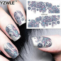 3D Nail Art Sticker Water Transfer Stickers Blue Flower Decals Tips Decor