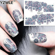 NAIL ART STICKER WATER TRANSFER STICKERS Blue FLOWER DECALS TIPS 3D DECORATION x