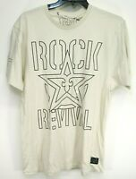 New Rock Revival Buckle Mens Cream Logo Soft Graphic Athletic Tee T-Shirt Large