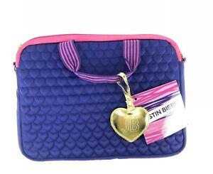 Justin Bieber Computer Laptop Case Purple Pink Gold Heart Strap Tote Bag Purse