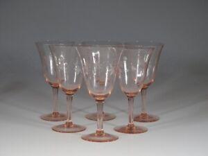 Set 6 Vintage Deco Pink Vertical Optic Wine Glasses Floral Cut Motif c.1930
