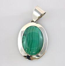 New Solid Sterling Silver Modern Malachite Pendant Handmade Designer Jewelry