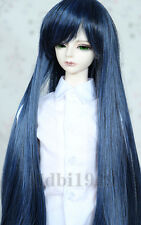 "1/3 8-9""LUTS Pullip SD BJD Doll Blythe Dollfie Wig Long BJD wig Black Blue Hair"