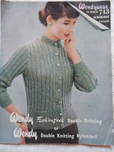 Original 1950's Knitting Pattern Lady's Ribbed Cardigan Wendywear 743 Free P & P