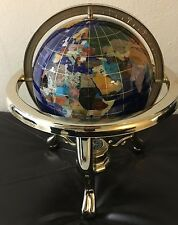 """28"""" Semi-Precious Stone Globe w/ Brass Stand and Compass - Blue Lapis Oceans."""