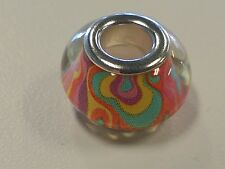 Acrylic European Bead - Colorful, Rondelle Brass Double Cores 14x9mm Large Hole