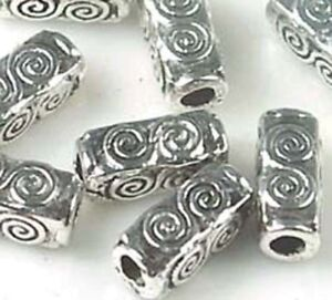 8 Antique Silver Pewter Spiral Rectangle Cuboid  Brick Beads 10x4mm
