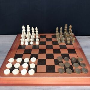 """Chess & Checkers Wooden Deluxe Tournament Size 15.5"""" Folding Board   Cardinal"""