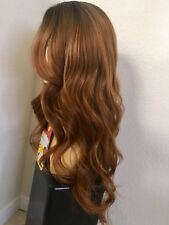 "26""Long Wavy Layered Brown Golden Full Wig  synthetic wigs. Dark Roots Ombré Wig"