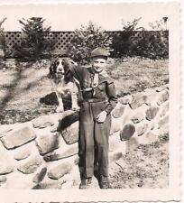 Happy Boy Scout Uniform Kid Hugging His Beagle Dog Retaining Wall Vintage Photo