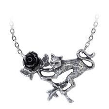 Alchemy Gothic Rosenkatze Black Rose Cat Pendant Necklace Pewter Jewelry P838