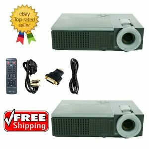 Lot of 2 - Dell 1209S DLP Projector w/Accessories, Remote