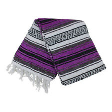 Mexican Falsa blanket in magenta and grey theme throw mat yoga rug new genuine