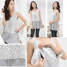 Nursing Breastfeeding Top Tunic Shirt Lace Block Sleeveless Gray Comfy Elegant