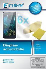 6x Zopo ZP700 Schutzfolie klar Displayschutzfolie Folie Ecultor Displayfolie