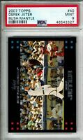 2007 TOPPS BASEBALL #40 DEREK JETER BUSH/MANTLE VARIATION PSA 9 MINT HOF YANKEES