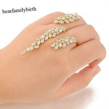 18k GP Zirconia Double Finger Ring Adjustable Cuff Ring Creative Women Gift R986