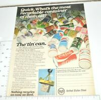 1977 VTG Recycling Print Ad USS Steel Tin Can Coke Pepsi Shasta Pabst Schlitz