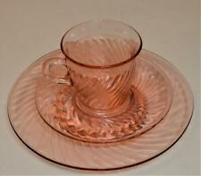 Vintage IMPERIAL Glass Pink Depression TWISTED OPTIC Set Tea Cup Saucer & Plate