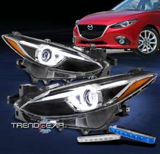 For 2014 2016 Mazda 3 Halo Led Tube Black Projector Headlights Withbumper Blue Drl Fits Mazda 3