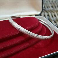 """Vintage Sterling Silver Bracelet, Textured Details, 8"""" long, Large Wrist Fit"""